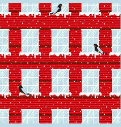 Windows seamless pattern and red wall vector