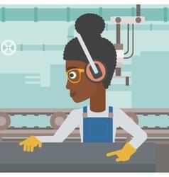 Woman working on metal press machine vector image
