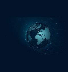 world map global network connection background vector image