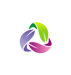 circle colorful leaf organic logo vector image