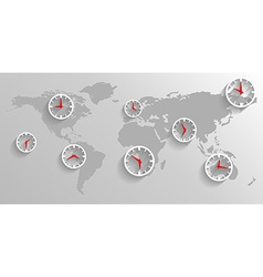 Clock on the map of the world business concept vector image