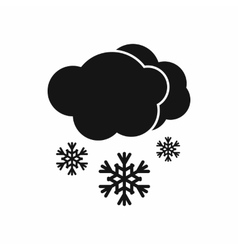 Cloud and snow icon black simple style vector image