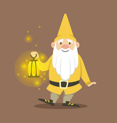Cute dwarf in a yellow jacket and hat standing vector