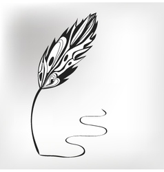 Feather calligraphic pen background vector image