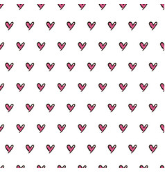hearts seamless pattern cute doodle hearts vector image