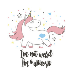 magic cute unicorn in cartoon style vector image vector image