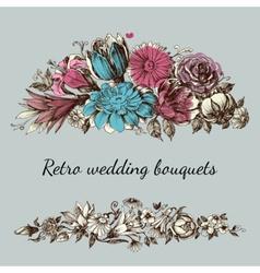 Retro wedding flower bouquets floral garden design vector image vector image