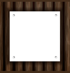 white note paper with pin on plank wood vector image