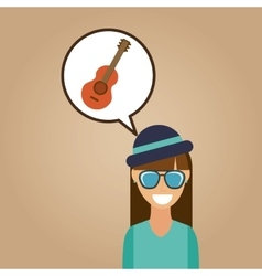 Hipster girl guitar music retro color vintage vector