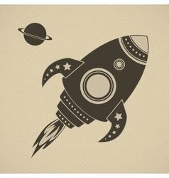 Vintage rocket in space vector image vector image