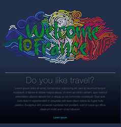 welcome to france travel desing background vector image vector image