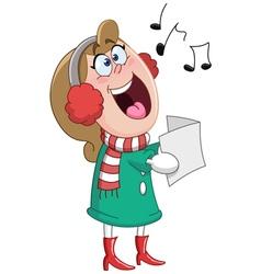 christmas carols woman vector image