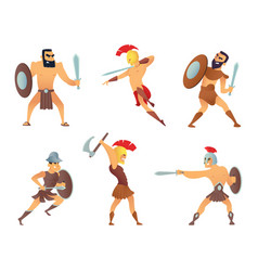 gladiators holding swords fighting characters in vector image
