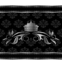 luxury vintage aluminum frame template with crown vector image vector image