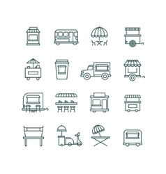 Street food retail truck line icons vector image
