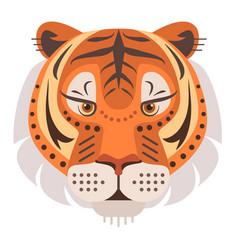tiger head logo decorative emblem vector image vector image