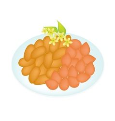 A Traditional Thai Dessert Golden Sweet Meat vector image vector image