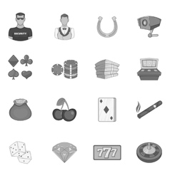 Casino icons set black monochrome style vector image vector image