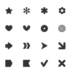 Simple common shape style stickers icon set vector