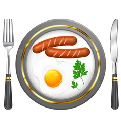 tableware egg sausage parsley vector image