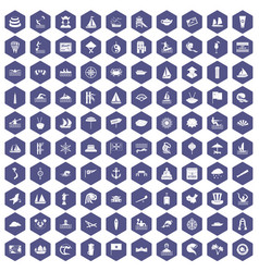 100 sailing vessel icons hexagon purple vector
