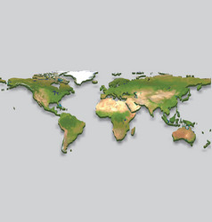 3d relief world map iwith shadow vector
