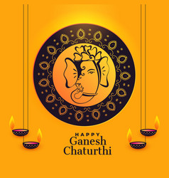 Artistic lord ganesha design for ganesh chaturthi vector