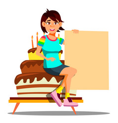 beautiful asian girl sitting on a big party cake vector image
