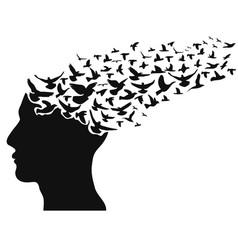 birds flying human head vector image