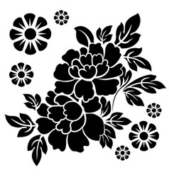 black silhouette flowers vector image