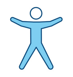 blue line pictogram man silhouette doing exercise vector image