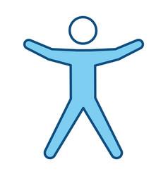 Blue line pictogram man silhouette doing exercise vector