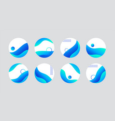 Blue liquid highlight story cover icons for social vector