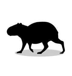 Capybara rodent mammal black silhouette animal vector