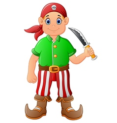 cartoon pirate holding knife vector image vector image