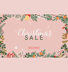 christmas sale banner winter leafs vector image