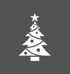 christmas tree icon with star on dark background vector image