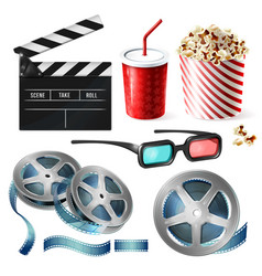 Cinema clipart 3d realistic objects vector