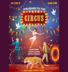 circus acrobats equilibrist and animal tamer vector image