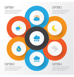Climate flat icons set collection of drop storm vector
