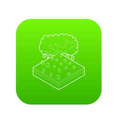 Cloud and hail icon green vector