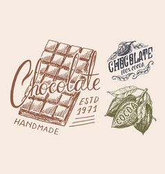 Cocoa beans and chocolate bar vintage badge or vector