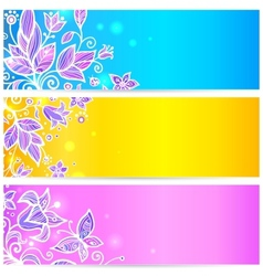 Colorful blue yellow and violet flowers banners vector