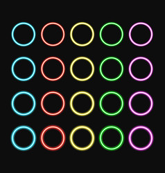 Colorful neon ring set color glowing rings vector
