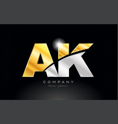 Combination letter ak a k alphabet with gold vector
