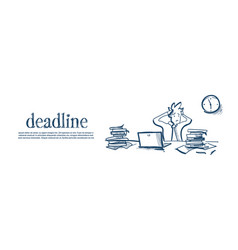 Confused businessman holding head tired deadline vector