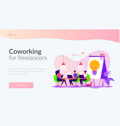 Coworking landing page template vector