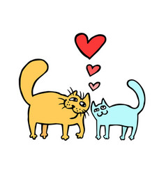 Cute enamored cats isolated vector