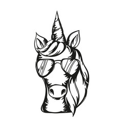 cute unicorn face wearing vector image