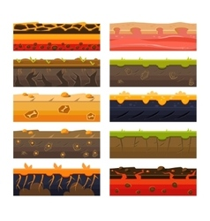 Different Ground Platformer Level Floor Design Set vector image vector image